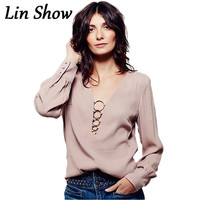 Deep V Solid Sexy Women Blouse 2016 Summer Style Casual Loose Ladies Tops Fashion Elegant Long Sleeve Office Female Shirt LJ8195