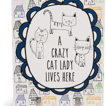 A crazy cat lady lives here Wall Key Hooks
