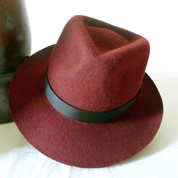 Ruby Red Wool Felt Fedora - Wide Brim Merino Wool Felt Handmade Fedora Hat - Men Women