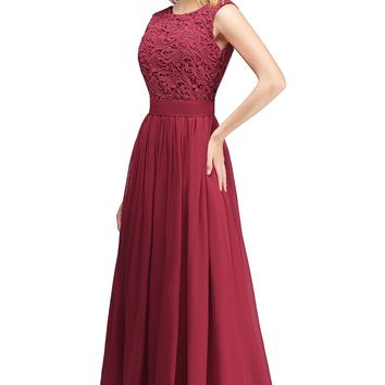 Pink burgundy prom dresses Sexy illusion Back New Chiffon Evening Dresses Party Gowns