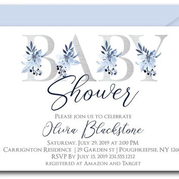 Silver Floral Alphabet Baby Shower Invitations