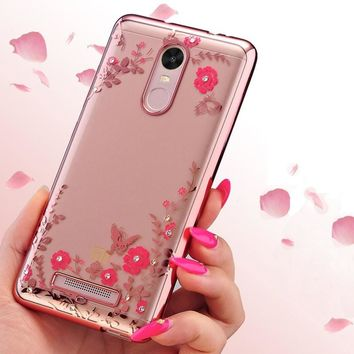 Case For Xiaomi Redmi Note 3 New Luxury Secret Garden Flower Rhinestone Cell Phone Case For Redmi 3 Plating Rose Gold Cover Case