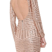 Bling Dynasty Open Back Sequin Dress - Rose Gold