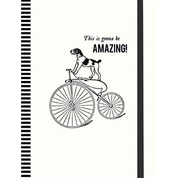 Vintage Prints Cycling Dog Gilded Journal