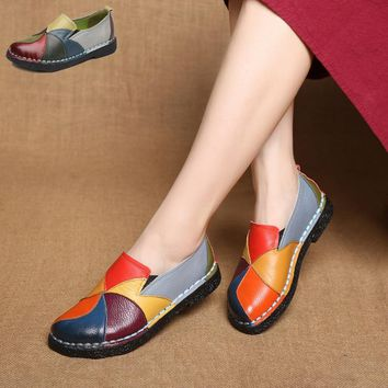 Designer Women Genuine Leather Loafers Mixed Colors ladies ballet Flats Shoes female Summer moccasins Casual ballerina