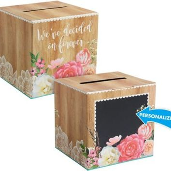 Floral & Lace Rustic Wedding Card Holder Box 12in x 12in | Party City
