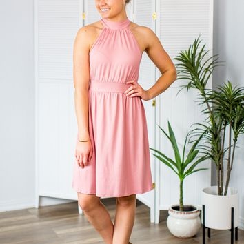 Perfect Moment Halter Dress- Dusty Rose