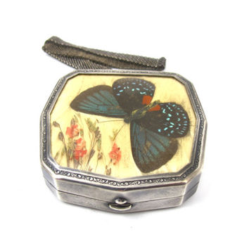 Art Deco Powder Compact Wristlet, Butterfly Dried Flowers Nickel Silver, Wedding Bridesmaid Gift, Vintage Compacts