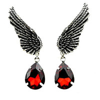 Wings w/ Red Stone Earrings Gothic Design Cosplay
