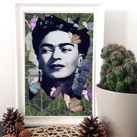 "Frida Kahlo art, Frida kahlo poster, surreal wall art print, Frida Kahlo portrait, home decor wall art, Frida Kahlo poster - ""The one""."