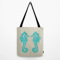 Beach Tote Bag with aqua seahorses, washable tote bag, nautical tote, book bag, lunch bag, beach bag, grocery bag, large tote