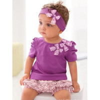 3 Piece Girls Baby Outfit.  Shirt Shorts and Headband