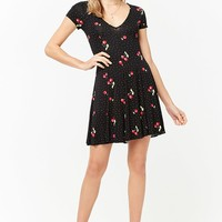 Polka Dot Cherry Print Swing Dress
