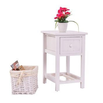 Costway Night Stand 2 Layer 1 Drawer Bedside End Table