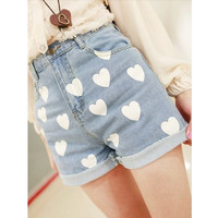 Heart-shaped printing high-waisted denim shorts