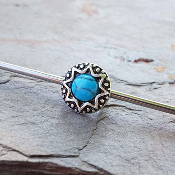 Turquoise Tribal Industrial Barbell Scaffold Piercing