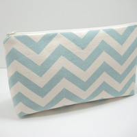 Large Chevron Pouch, Zippered Pouch, Blue Chevron Accessory Pouch, Toiletries Pouch, Travel Bag, Diaper Pouch, Ready to Ship