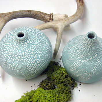 Handmade pottery 2 mint green vases with white crawling glaze perfect as home decor very modern and minimalist