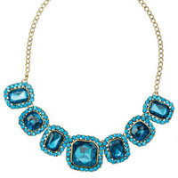 Blue Oversize Gem Necklace