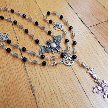 Gothic Satanic Rosary Bead Necklace with Bat Inverted Cross and Pentagrams - Demonic Jewelry - Black and Grey Glass Beads Upside Down Cross