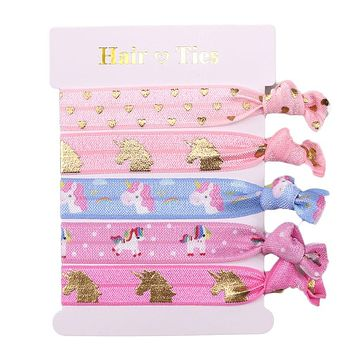 """5/8"""" fashion Unicorn printed Knotted Girl FOE Hair Ties elastic for Hair Accessories"""