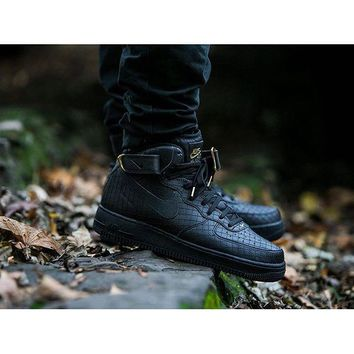 hcxx Nike Air Force 1 Mid Pattern Black For Women Men Running Sport Casual Shoes Sneakers