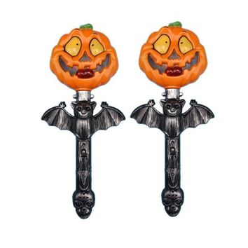 2pcs Halloween Shaking Stick Pumpkin Light Up Luminous Glowing Hand Sticks Props Party Supplies Wand Toys for Bar Festival Party