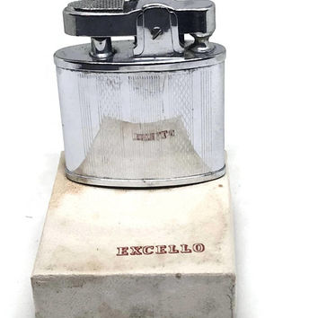 Vintage Excello Lighter 1950s Pocket Lighter in Box, Working Silver Lighter, Simple Art Deco Design, NEW Condition, Automatic Shurlite Japan