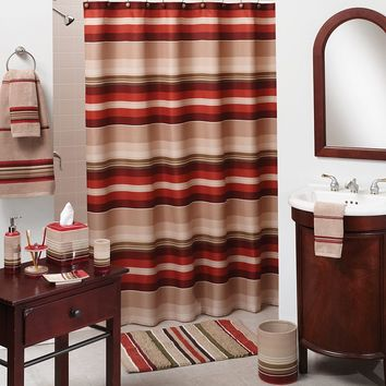 Madison Striped Fabric Shower Curtain (Red)