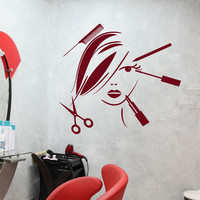 Copy of Vinyl Decal Beauty Salon Decor Hair Stylist Tools Spa Barber Style Wall Sticker Mural (ig2529)