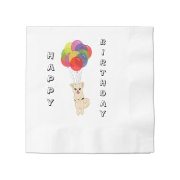 Puppy with Balloons Paper Napkin