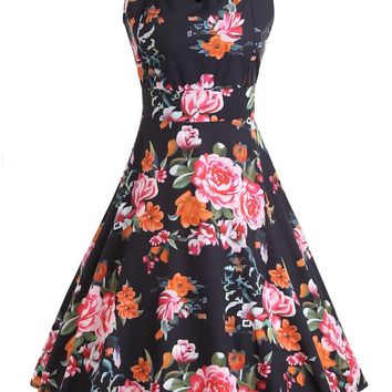 Flower Printed Sleeveless Vintage Dress