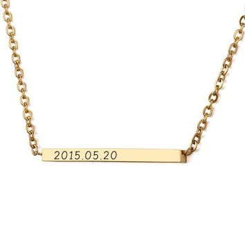Personalized Name Necklace DIY Gold Color Stainless Steel Engraved Bar