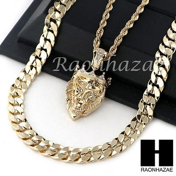 "MEN ICED OUT KING LION ROPE CHAIN DIAMOND CUT 30"" CUBAN LINK CHAIN NECKLACE S011"