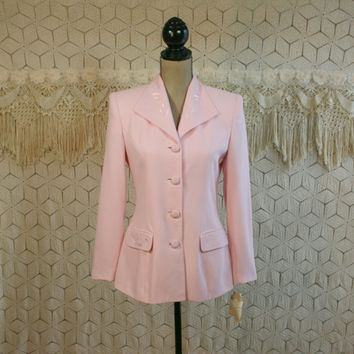 Vintage 80s Pastel Pink Blazer Jacket Spring Fitted Womens Jackets Small Embroidered Jacket Casual Corner 1980s Womens New Vintage Clothing