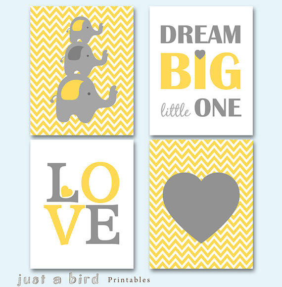 150 Best Printable Wall Art Quote Posters Nursery Kids: Elephant Art Print, Chevron Printable, From