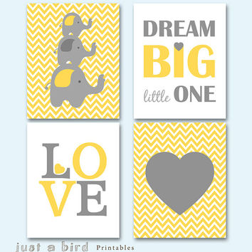 Elephant art print, chevron printable, yellow grey elephant nursery art, Dream big little one, Set of 4 prints, INSTANT DOWNLOAD