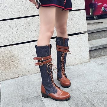 Round Toe Color Block Lace Up Low Chunky Heel Knee-length Boots