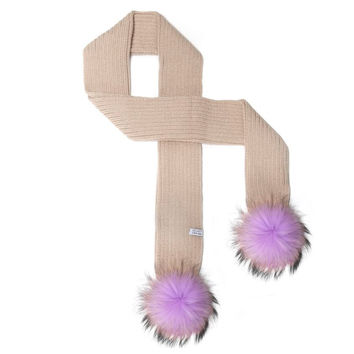 LUX FUR POM SCARF TAUPE WITH UNICORN FUR