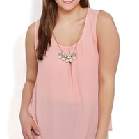 Plus Size Tunic Tank with Keyhole Back and Pearl Necklace