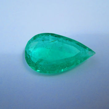 11ct Muzo Mine Colombian Emerald Native Pear Hand Cut 100% Natural Faceted Gemstone