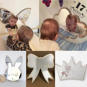 Nordic Wood Acrylic Mirror Swan Butterfly Bats Camera Props Kids Room Wall Decoration