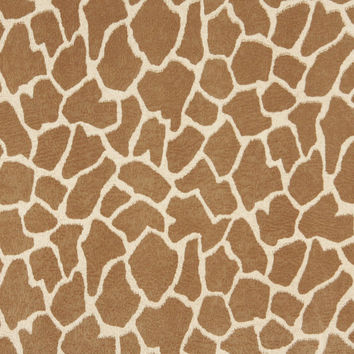 Beige and Brown, Giraffe Print Microfiber Upholstery Fabric