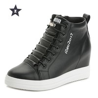 Z Platform Shoes Wedges Women Shoes High Heels Increased internal Lace-UP Students Walking Shoes Woman Sneakers Size 34-40
