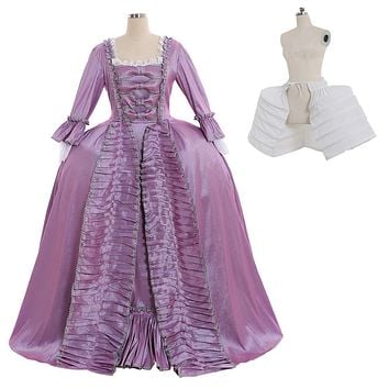 Marie Antoinette Baroque Ball Gown Dress 18th Century Colonial Purple Rococo Belle Dress Custom Made Any Size