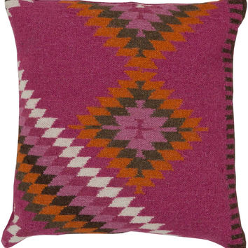Surya Beth Lacefield Kilim Tranquil Tribal Pillow, Purple, Orange, Brown