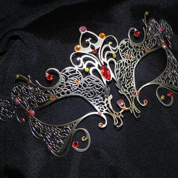 Red, Orange and Yellow Metal Masquerade Mask