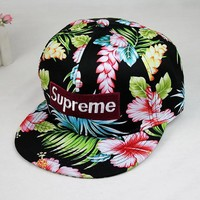 street fashion supreme Floral Printed Baseball Cap Hat