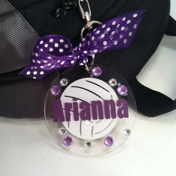 Volleyball Bag Tag in Purple
