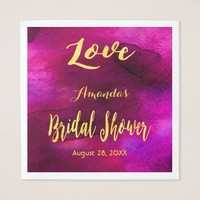 Love bridal shower burgundy blue gold watercolor napkin
